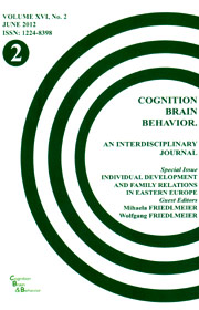 Cognition, Brain, Behavior. An Interdisciplinary Journal (June 2012) - Autori multipli